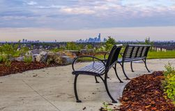 Benches Overlooking The City stock photography