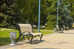Benches in park Stock Photos