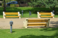 Benches in the park. In the city Stock Images