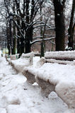 Benches in the park, covered with snow. Vertical view Royalty Free Stock Photography
