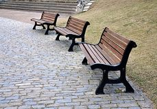 Benches in the park. Free benches in the park Stock Images