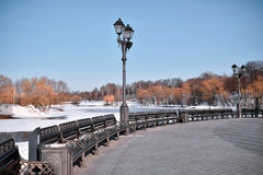 Benches in a park. Image of benches at Tsaritsino park in Moscow, Russia in winter Royalty Free Stock Images