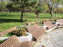Benches in park. Row of wooden benches in park in autumn Royalty Free Stock Image