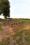 Benches in the park, sunset Stock Photography
