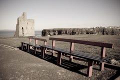 Benches and path to Ballybunion beach Stock Photo