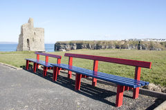 Benches and path to Ballybunion castle Royalty Free Stock Image