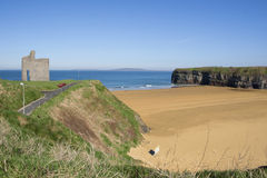 Benches and path view of Ballybunion castle Royalty Free Stock Photo