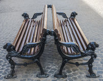 Benches on the pavement in Lvov. 2015 Stock Photography