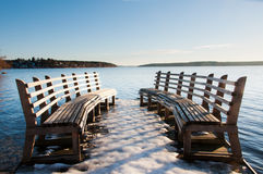 Benches on a pier. Royalty Free Stock Images