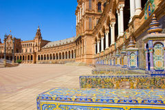 Benches of Plaza de Espa?a, Seville, Spain stock photo