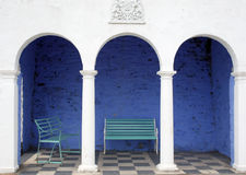 Benches by Portmeirion hotel Royalty Free Stock Photography