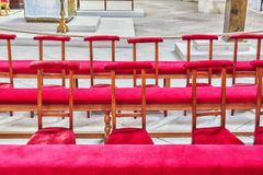 Benches for prayer inside Saint-Germain l`Auxerrois Church, near Stock Image