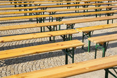 Benches, prepare for the concert. Stock Photos