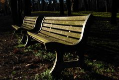 Benches at the public garden stock images