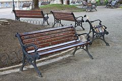 Benches in a park. Benches in a public park Royalty Free Stock Photography