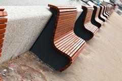 Benches on river embankment Royalty Free Stock Photos