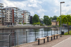 Benches by the river Stock Photography