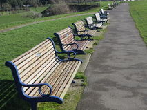 Benches. Row of benches on Southsea seafront. These look out across the Solent and each one has been donated in memory of peoples loved ones Royalty Free Stock Photos