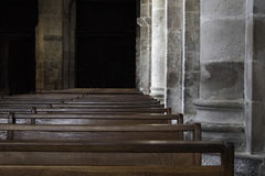 Benches of Saint Foy abbey-church Conques Stock Images