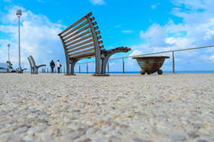 Benches by the sea in Sardinia Stock Photography