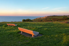 Benches with sea view in Getxo Royalty Free Stock Images