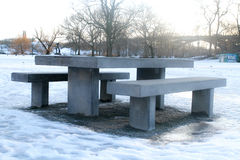 Benches and seats in a a park Stock Photos