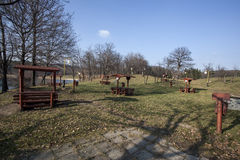 Benches with shelter Bor Lake. In late autumn Royalty Free Stock Photo