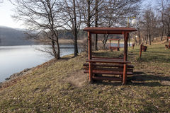 Benches with shelter Bor Lake. In late autumn Stock Photo