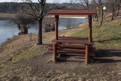 Benches with shelter Bor Lake. In late autumn Royalty Free Stock Photography