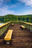 Benches on a small pier at Lake Oolenoy, Table Rock State Park,. South Carolina Stock Photos