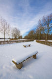Benches in the snow Stock Image