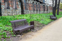 Benches in spring park Stock Photography