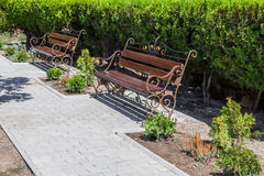 Benches standing along the sidewalk. And green bushes stock photo