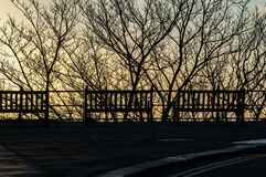 Benches at sunrise Stock Photos
