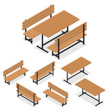 Benches and a table. Flat isometric. A place for rest. Relaxation and picnic. The element of the Park or grove. Wooden bench and table. The place for meeting Stock Photography