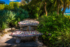 Benches and table in a garden in Key West, Florida. Stock Image