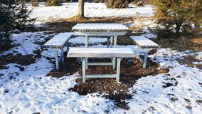 Benches and table for resting at nature - Baden-Wurttemberg. Benches and table for resting at nature - winter in Baden-Wurttemberg Stock Photography