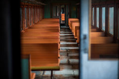 Benches in the train inside Royalty Free Stock Photos