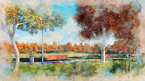 Benches and trees in autumn park watercolor sketch stock illustration