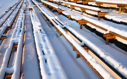 Benches under snow Royalty Free Stock Image
