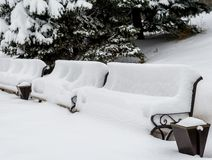 Benches under snow Royalty Free Stock Photography