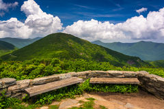 Benches and view of the Appalachians from Craggy Pinnacle. Near the Blue Ridge Parkway, North Carolina stock photos