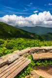 Benches and view of the Appalachians from Craggy Pinnacle stock images