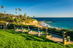 Benches and view of the Pacific Ocean at Heisler Park royalty free stock photo