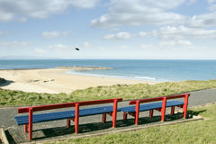 Benches with views of Ballybunion beach and coast Stock Images
