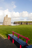 Benches with views of Ballybunion castle and coast Stock Photo