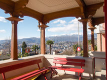 Benches Waiting at the station of the funicular Lugano Stock Photos