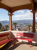 Benches Waiting at the station of the funicular Lugano Royalty Free Stock Images