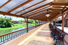 Benches and walkway for relaxation riverside Royalty Free Stock Images