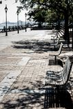 Benches on a warm day royalty free stock images